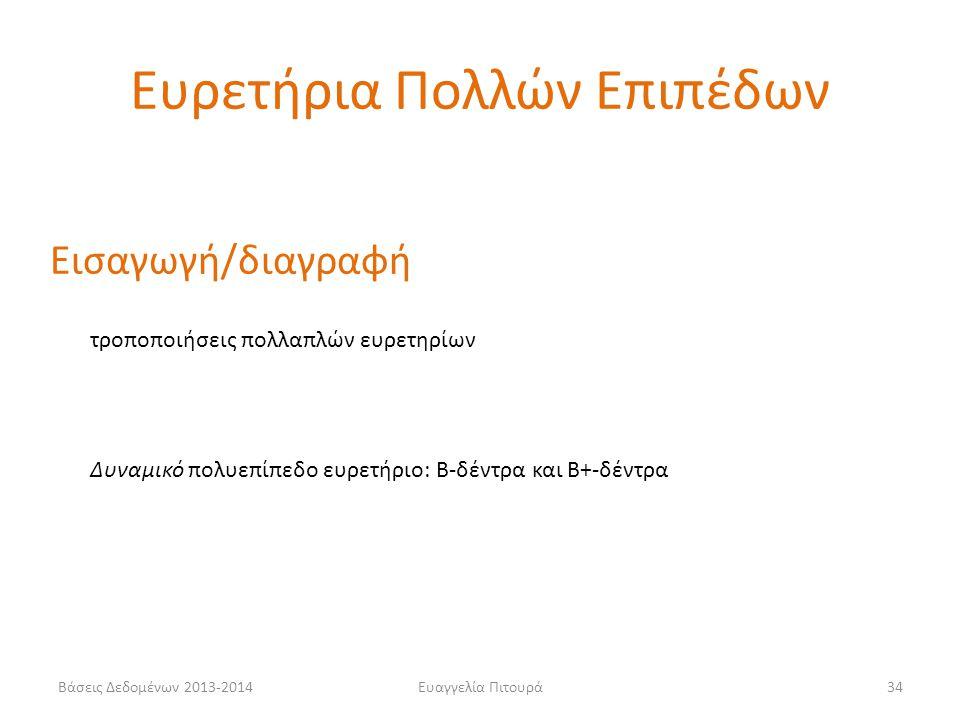 Ευαγγελία Πιτουρά34 Εισαγωγή/διαγραφή τροποποιήσεις πολλαπλών ευρετηρίων Δυναμικό πολυεπίπεδο ευρετήριο: Β-δέντρα και Β+-δέντρα Ευρετήρια Πολλών Επιπέδων Βάσεις Δεδομένων 2013-2014