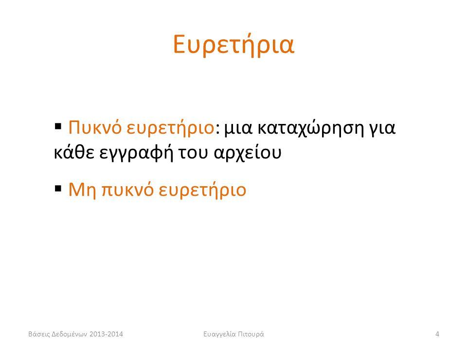 Ευαγγελία Πιτουρά4  Πυκνό ευρετήριο: μια καταχώρηση για κάθε εγγραφή του αρχείου  Μη πυκνό ευρετήριο Ευρετήρια Βάσεις Δεδομένων 2013-2014