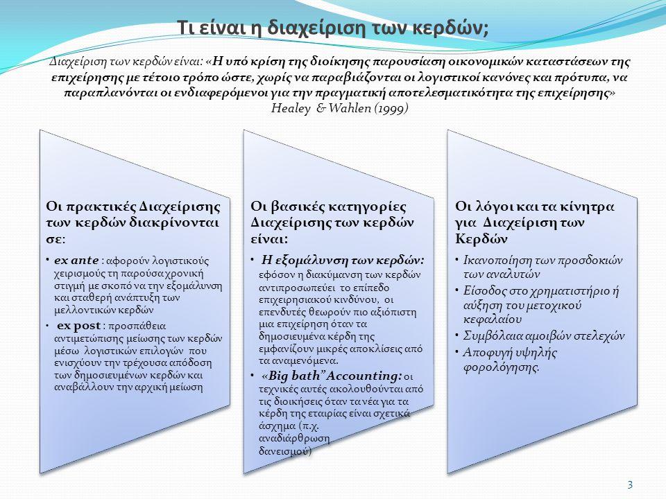 Οι πρακτικές Διαχείρισης των κερδών διακρίνονται σε: ex ante : αφορούν λογιστικούς χειρισμούς τη παρούσα χρονική στιγμή με σκοπό να την εξομάλυνση και