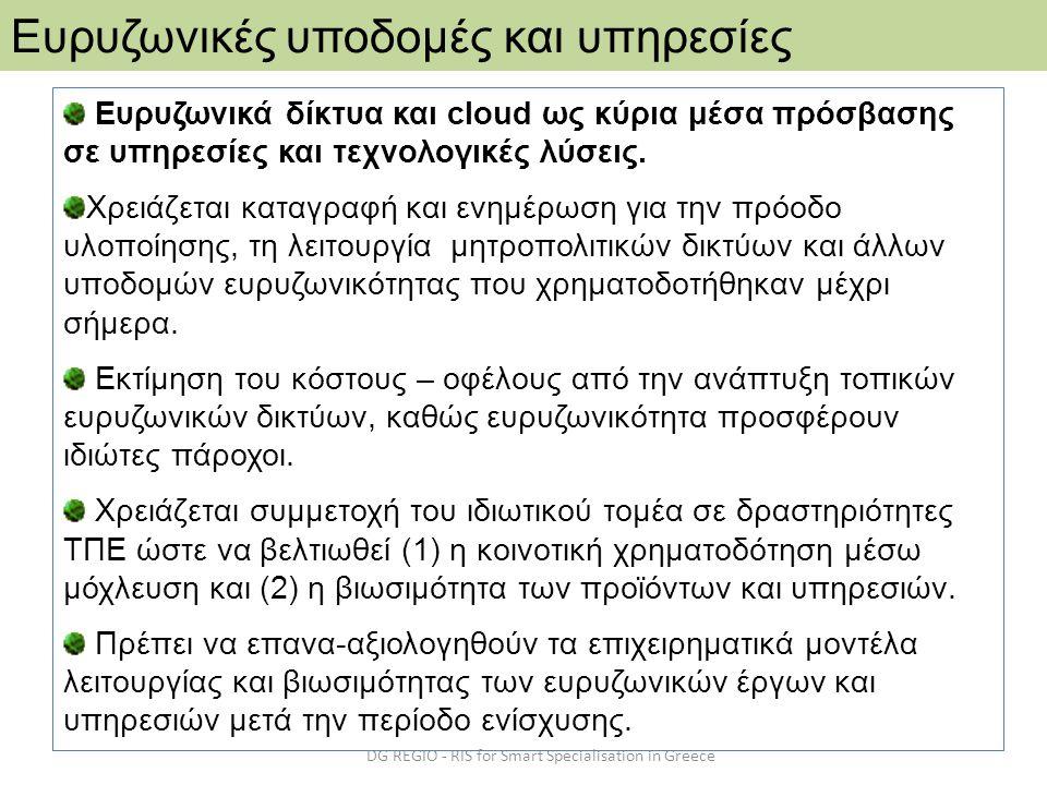 DG REGIO - RIS for Smart Specialisation in Greece Ευρυζωνικές υποδομές και υπηρεσίες Ευρυζωνικά δίκτυα και cloud ως κύρια μέσα πρόσβασης σε υπηρεσίες
