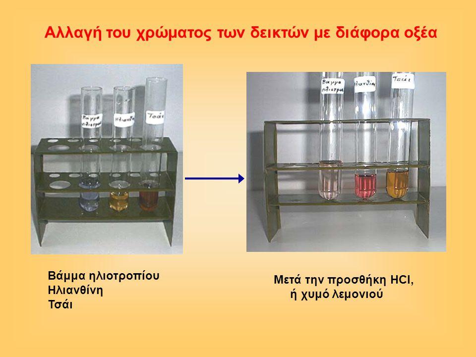 Αλλαγή του χρώματος των δεικτών με διάφορα οξέα Βάμμα ηλιοτροπίου Ηλιανθίνη Τσάι Μετά την προσθήκη HCl, ή χυμό λεμονιού