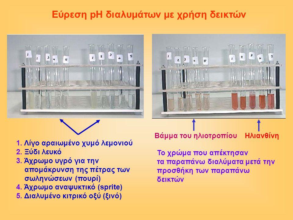 Δείκτες από την καθημερινή ζωή 1)Το σκούρο χρώμα του τσαγιού 2)Το κόκκινο κρασί 3)Το ζουμί από παντζάρια ή κόκκινο λάχανο (μετά από βράσιμο ή διάλυση σε οινόπνευμα) από κόκκινο γίνεται τριανταφυλλί 4)Το νερό από βράσιμο μπιζελιών 5)Χυμός από βατόμουρα 6) Το ζουμί από κόκκινα τριαντάφυλλα Εύρεση pH με φυσικούς δείκτες