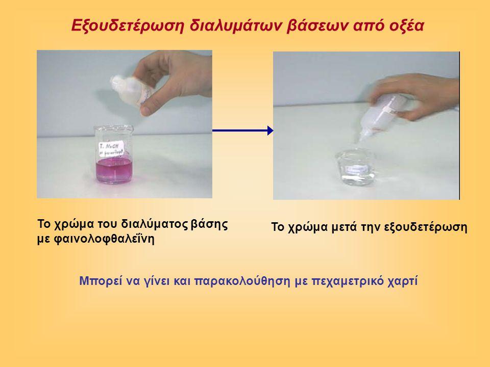 Εξουδετέρωση διαλυμάτων βάσεων από οξέα To χρώμα του διαλύματος βάσης με φαινολοφθαλεΐνη To χρώμα μετά την εξουδετέρωση Μπορεί να γίνει και παρακολούθηση με πεχαμετρικό χαρτί