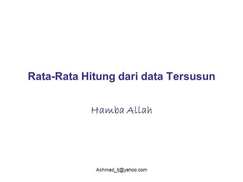 Achmad_tj@yahoo.com Rata-Rata Hitung dari data Tersusun Hamba Allah