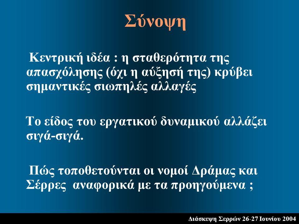 Διάσκεψη Σερρών 26-27 Ιουνίου 2004 Κεντρική ιδέα : η σταθερότητα της απασχόλησης (όχι η αύξησή της) κρύβει σημαντικές σιωπηλές αλλαγές Το είδος του ερ