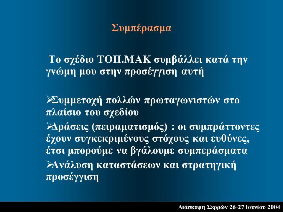 Διάσκεψη Σερρών 26-27 Ιουνίου 2004 Το σχέδιο ΤΟΠ.ΜΑΚ συμβάλλει κατά την γνώμη μου στην προσέγγιση αυτή  Συμμετοχή πολλών πρωταγωνιστών στο πλαίσιο του σχεδίου  Δράσεις (πειραματισμός) : οι συμπράττοντες έχουν συγκεκριμένους στόχους και ευθύνες, έτσι μπορούμε να βγάλουμε συμπεράσματα  Ανάλυση καταστάσεων και στρατηγική προσέγγιση Συμπέρασμα