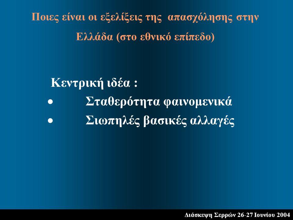 Διάσκεψη Σερρών 26-27 Ιουνίου 2004 Κεντρική ιδέα :  Σταθερότητα φαινομενικά  Σιωπηλές βασικές αλλαγές Ποιες είναι οι εξελίξεις της απασχόλησης στην Ελλάδα (στο εθνικό επίπεδο)