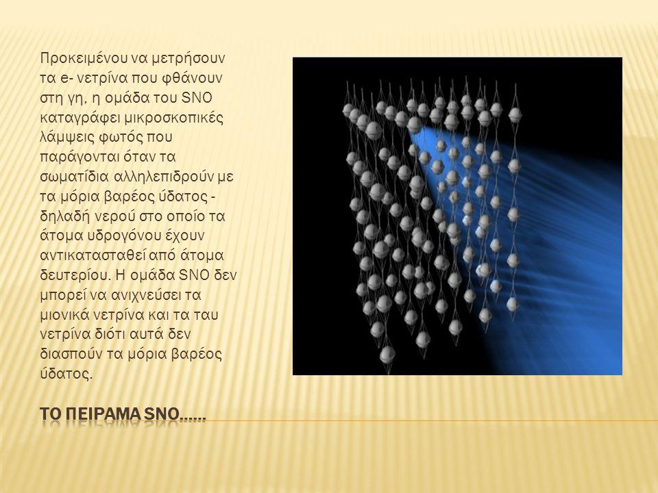 Προκειμένου να μετρήσουν τα e- νετρίνα που φθάνουν στη γη, η ομάδα του SNO καταγράφει μικροσκοπικές λάμψεις φωτός που παράγονται όταν τα σωματίδια αλληλεπιδρούν με τα μόρια βαρέος ύδατος - δηλαδή νερού στο οποίο τα άτομα υδρογόνου έχουν αντικατασταθεί από άτομα δευτερίου.