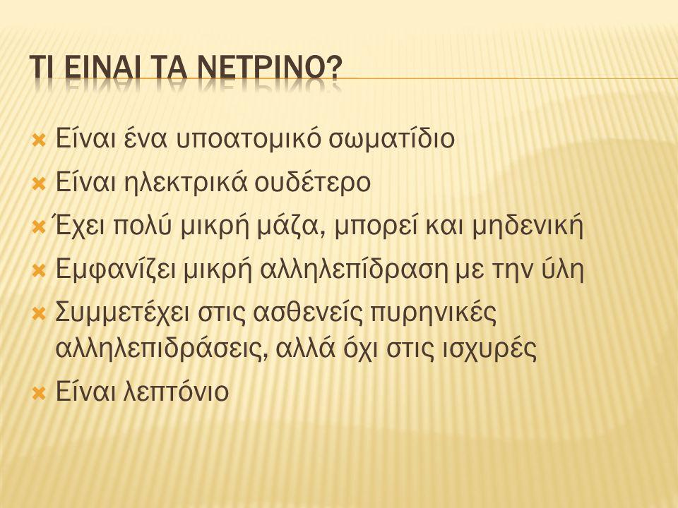  Το πρώτο σημαντικό εύρημα του πειράματος Minos (Main Injector Neutrino Oscillation Search) αφορά στην ύπαρξη μάζας για τα νετρίνα.