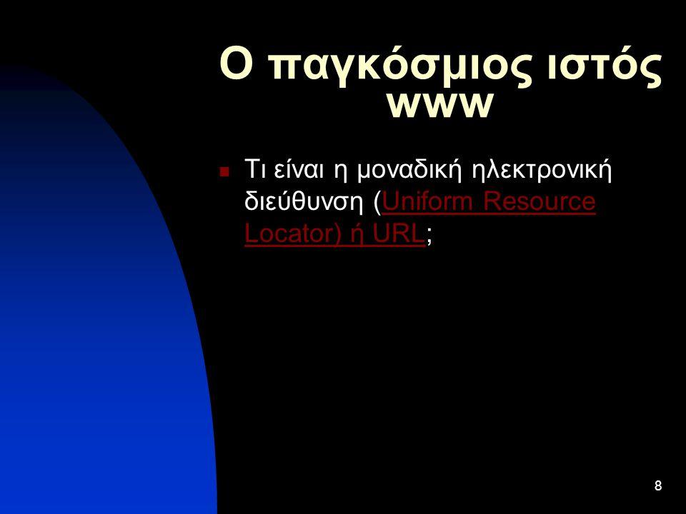 8 Ο παγκόσμιος ιστός www Τι είναι η μοναδική ηλεκτρονική διεύθυνση (Uniform Resource Locator) ή URL;Uniform Resource Locator) ή URL