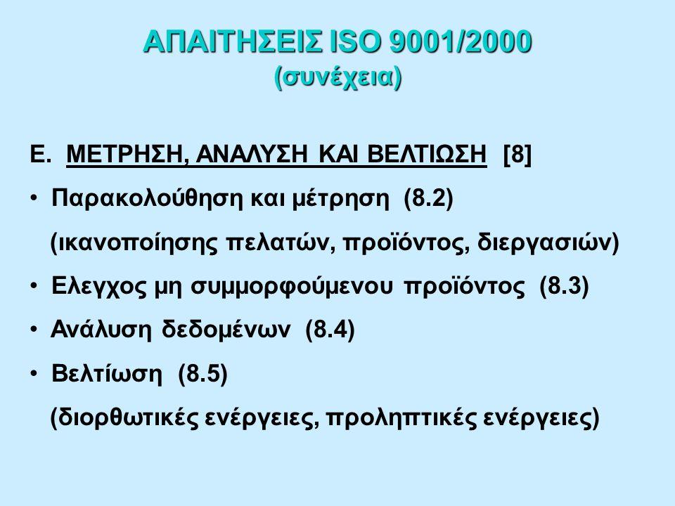 ΑΠΑΙΤΗΣΕΙΣ ISO 9001/2000 (συνέχεια) Δ.