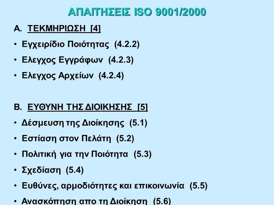 ΘΕΜΕΛΙΩΔΕΙΣ ΑΡΧΕΣ ΣΥΣΤΗΜΑΤΟΣ ΔΙΑΧΕΙΡΙΣΗΣ ΠΟΙΟΤΗΤΑΣ ISO 9001/2000 (συνέχεια) 5.ΣΥΝΕΧΗΣ ΒΕΛΤΙΩΣΗ Ευελιξία για γρήγορη ανταπόκριση σε ευκαιρίες Ευθυγράμμιση ενεργειών βελτίωσης σε όλα τα επίπεδα 6.ΛΗΨΗ ΑΠΟΦΑΣΕΩΝ ΒΑΣΙΣΜΕΝΗ ΣΕ ΓΕΓΟΝΟΤΑ Δυνατότητα να αποδεικνύεται η αποτελεσματικότητα των αποφάσεων και η ανασκόπησή τους 7.ΣΧΕΣΕΙΣ ΜΕ ΠΡΟΜΗΘΕΥΤΕΣ Κοινή αντιμετώπιση στις αλλαγές με βελτιστοποίηση κόστους και πόρων και ανταλλαγή τεχνογνωσίας