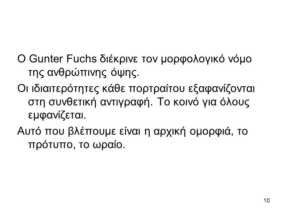10 Ο Gunter Fuchs διέκρινε τον μορφολογικό νόμο της ανθρώπινης όψης.