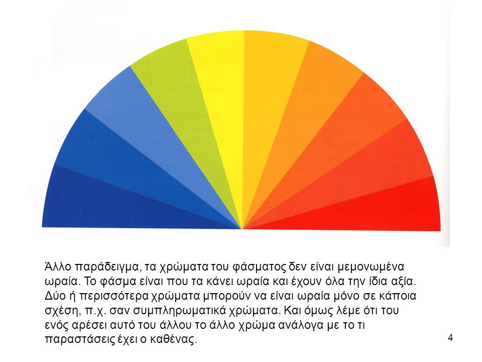 4 Άλλο παράδειγμα, τα χρώματα του φάσματος δεν είναι μεμονωμένα ωραία.