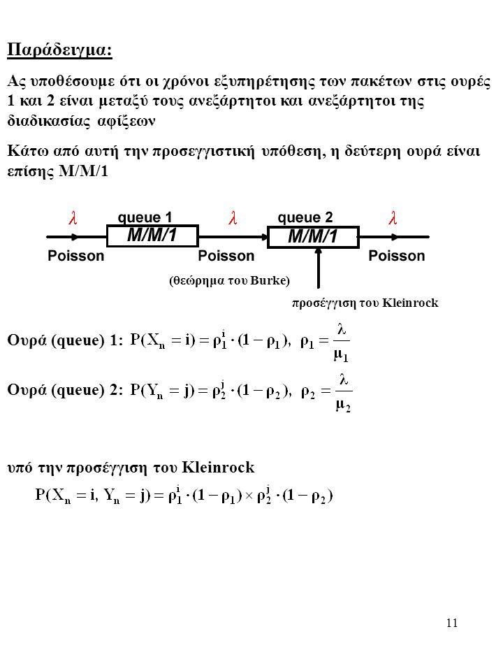 11 Παράδειγμα: Ας υποθέσουμε ότι οι χρόνοι εξυπηρέτησης των πακέτων στις ουρές 1 και 2 είναι μεταξύ τους ανεξάρτητοι και ανεξάρτητοι της διαδικασίας αφίξεων Κάτω από αυτή την προσεγγιστική υπόθεση, η δεύτερη ουρά είναι επίσης Μ/Μ/1 (θεώρημα του Burke) προσέγγιση του Kleinrock Ουρά (queue) 1: Ουρά (queue) 2: υπό την προσέγγιση του Kleinrock