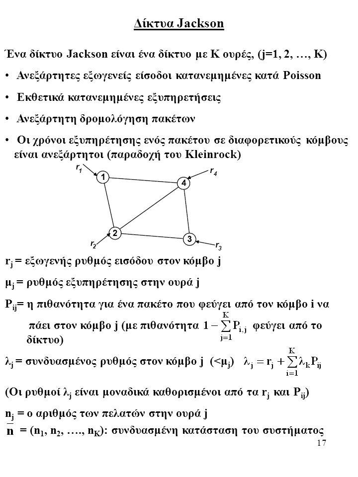 17 Δίκτυα Jackson Ένα δίκτυο Jackson είναι ένα δίκτυο με K ουρές, (j=1, 2, …, K) Ανεξάρτητες εξωγενείς είσοδοι κατανεμημένες κατά Poisson Εκθετικά κατανεμημένες εξυπηρετήσεις Ανεξάρτητη δρομολόγηση πακέτων Οι χρόνοι εξυπηρέτησης ενός πακέτου σε διαφορετικούς κόμβους είναι ανεξάρτητοι (παραδοχή του Kleinrock) r j = εξωγενής ρυθμός εισόδου στον κόμβο j μ j = ρυθμός εξυπηρέτησης στην ουρά j P ij = η πιθανότητα για ένα πακέτο που φεύγει από τον κόμβο i να πάει στον κόμβο j (με πιθανότητα φεύγει από το δίκτυο) λ j = συνδυασμένος ρυθμός στον κόμβο j (<μ j ) (Οι ρυθμοί λ j είναι μοναδικά καθορισμένοι από τα r j και P ij ) n j = ο αριθμός των πελατών στην ουρά j = (n 1, n 2, …., n K ): συνδυασμένη κατάσταση του συστήματος