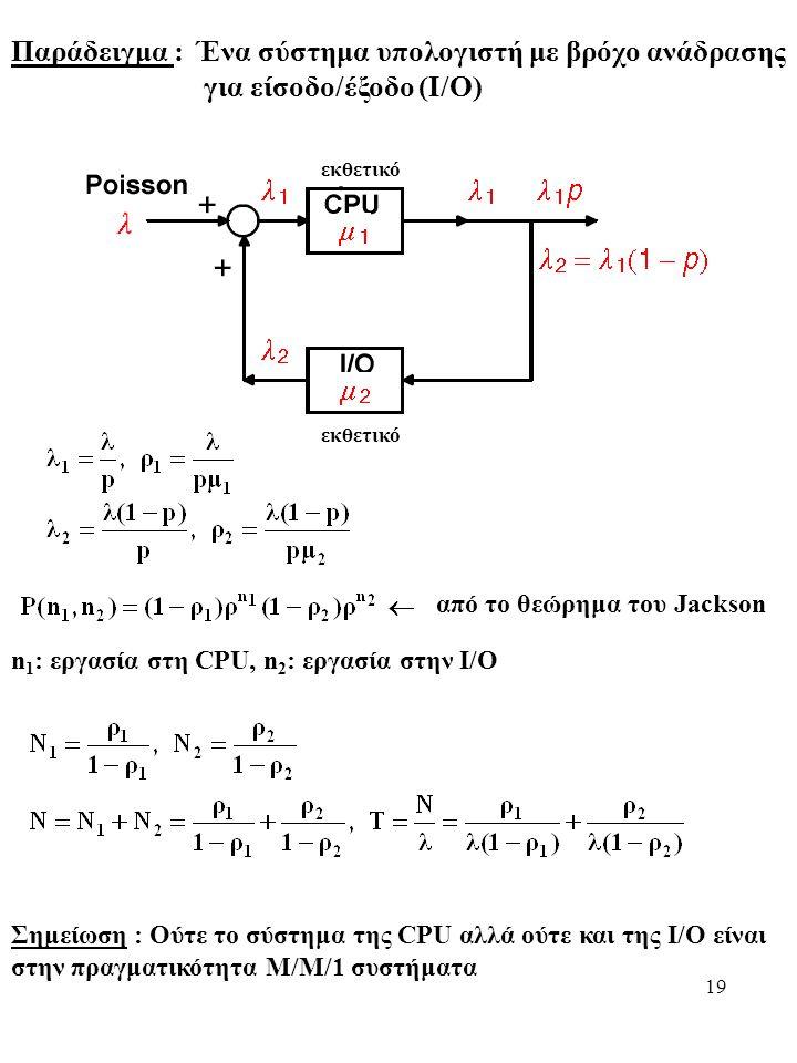 19 Παράδειγμα : Ένα σύστημα υπολογιστή με βρόχο ανάδρασης για είσοδο/έξοδο (Ι/Ο) εκθετικό από το θεώρημα του Jackson n 1 : εργασία στη CPU, n 2 : εργασία στην I/O Σημείωση : Ούτε το σύστημα της CPU αλλά ούτε και της I/O είναι στην πραγματικότητα M/M/1 συστήματα