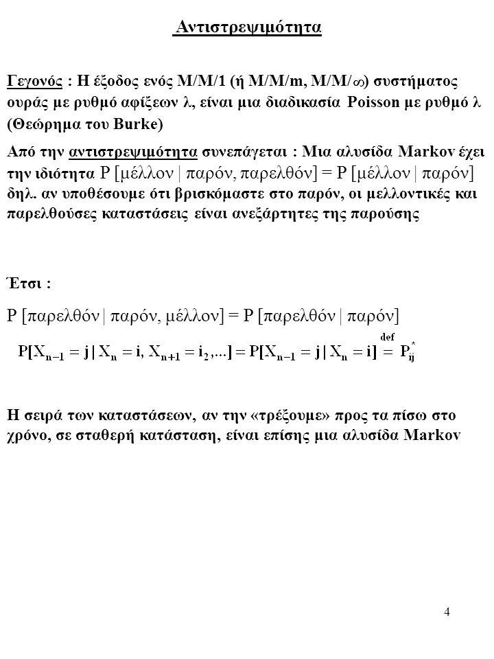 4 Αντιστρεψιμότητα Γεγονός : Η έξοδος ενός Μ/Μ/1 (ή Μ/Μ/m, M/M/ ) συστήματος ουράς με ρυθμό αφίξεων λ, είναι μια διαδικασία Poisson με ρυθμό λ (Θεώρημα του Burke) Από την αντιστρεψιμότητα συνεπάγεται : Μια αλυσίδα Markov έχει την ιδιότητα P [μέλλον | παρόν, παρελθόν] = P [μέλλον | παρόν] δηλ.