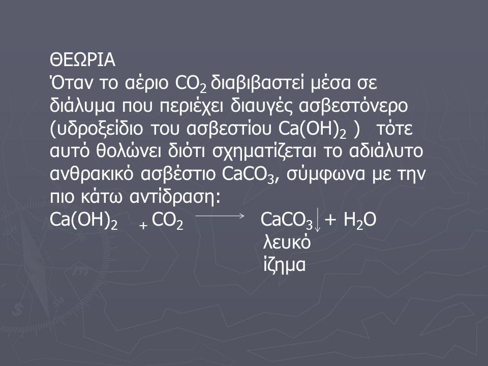 ΘΕΩΡΙΑ Όταν το αέριο CΟ 2 διαβιβαστεί μέσα σε διάλυμα που περιέχει διαυγές ασβεστόνερο (υδροξείδιο του ασβεστίου Ca(OH) 2 ) τότε αυτό θολώνει διότι σχηματίζεται το αδιάλυτο ανθρακικό ασβέστιο CaCO 3, σύμφωνα με την πιο κάτω αντίδραση: Ca(OH) 2 + CΟ 2 CaCO 3 + Η 2 Ο λευκό ίζημα