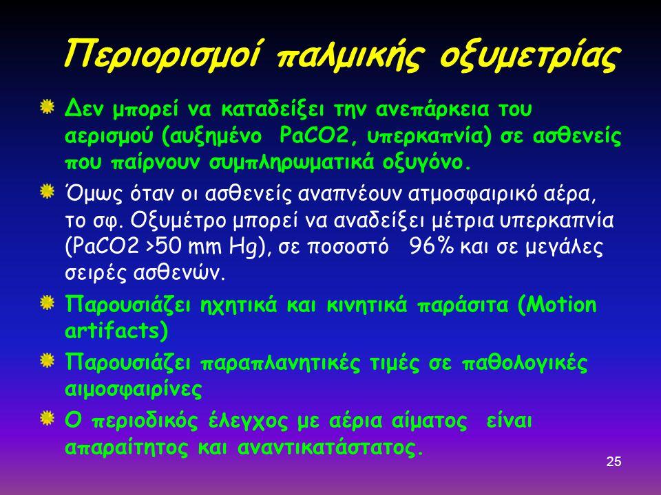 25 Περιορισμοί παλμικής οξυμετρίας Δεν μπορεί να καταδείξει την ανεπάρκεια του αερισμού (αυξημένο PaCO2, υπερκαπνία) σε ασθενείς που παίρνουν συμπληρωματικά οξυγόνο.