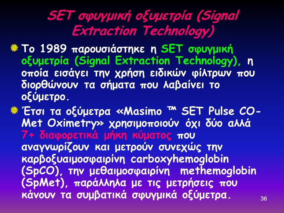 36 SET σφυγμική οξυμετρία (Signal Extraction Technology) Το 1989 παρουσιάστηκε η SET σφυγμική οξυμετρία (Signal Extraction Technology), η οποία εισάγει την χρήση ειδικών φίλτρων που διορθώνουν τα σήματα που λαβαίνει το οξύμετρο.