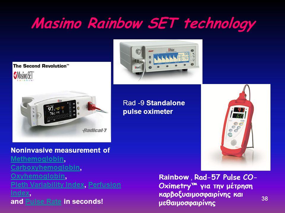 38 Masimo Rainbow SET technology Rainbow, Rad-57 Pulse CO- Oximetry™ για την μέτρηση καρβοξυαιμοσφαιρίνης και μεθαιμοσφαιρίνης Noninvasive measurement of Methemoglobin, Carboxyhemoglobin, Oxyhemoglobin, Pleth Variability Index, Perfusion Index, and Pulse Rate in seconds.