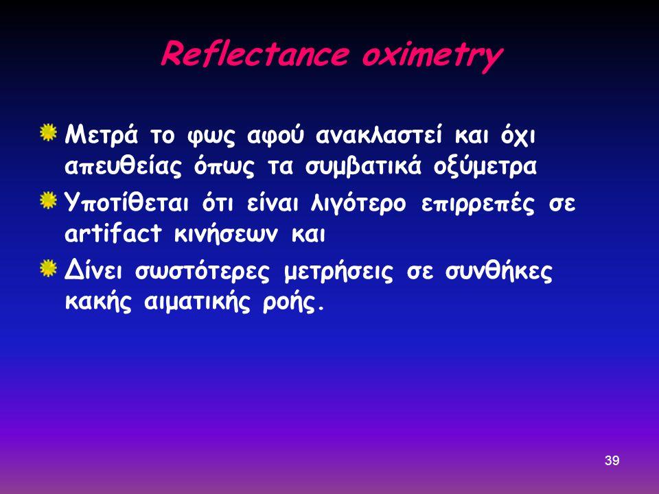 39 Reflectance oximetry Μετρά το φως αφού ανακλαστεί και όχι απευθείας όπως τα συμβατικά οξύμετρα Υποτίθεται ότι είναι λιγότερο επιρρεπές σε artifact κινήσεων και Δίνει σωστότερες μετρήσεις σε συνθήκες κακής αιματικής ροής.
