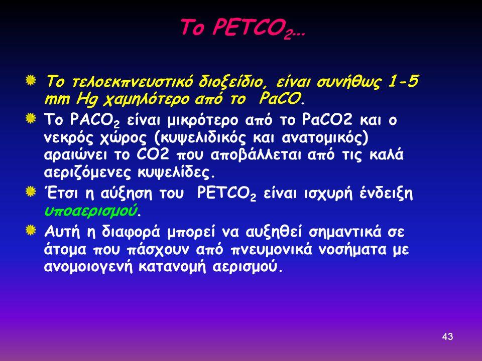 43 Το τελοεκπνευστικό διοξείδιο, είναι συνήθως 1-5 mm Hg χαμηλότερο από το PαCO. Το PΑCO 2 είναι μικρότερο από το PαCO2 και ο νεκρός χώρος (κυψελιδικό