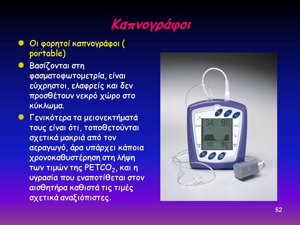 52 Καπνογράφοι Οι φορητοί καπνογράφοι ( portable) Βασίζονται στη φασματοφωτομετρία, είναι εύχρηστοι, ελαφρείς και δεν προσθέτουν νεκρό χώρο στο κύκλωμα.
