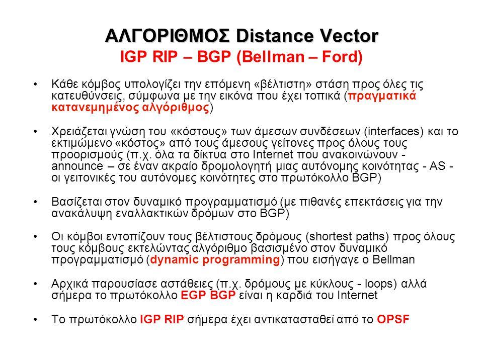ΑΛΓΟΡΙΘΜΟΣ Distance Vector ΑΛΓΟΡΙΘΜΟΣ Distance Vector IGP RIP – BGP (Bellman – Ford) Κάθε κόμβος υπολογίζει την επόμενη «βέλτιστη» στάση προς όλες τις