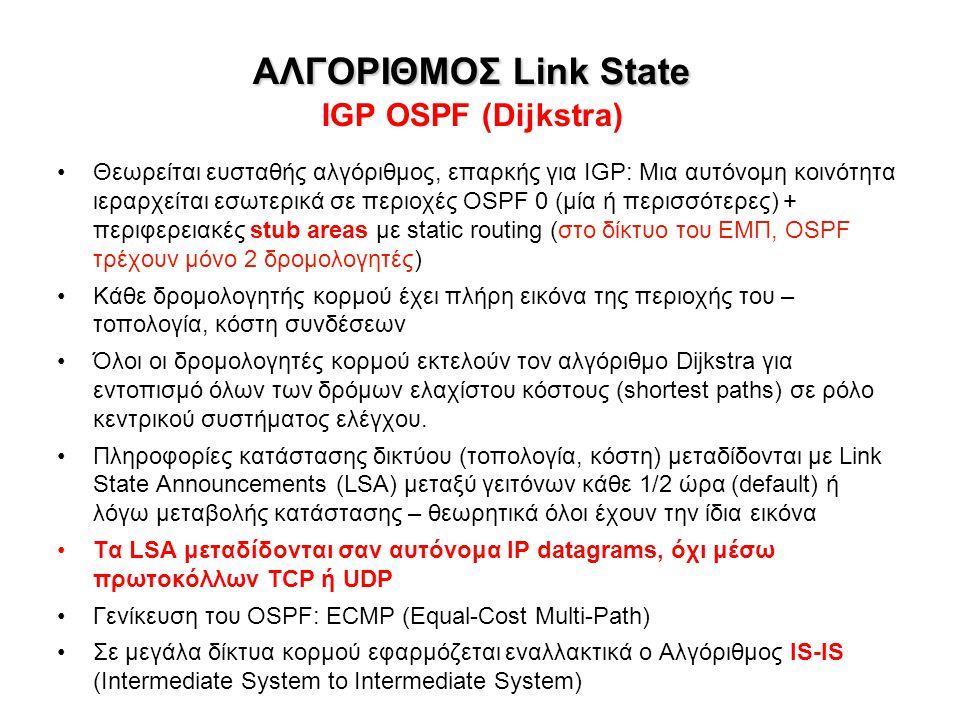 ΑΛΓΟΡΙΘΜΟΣ Link State ΑΛΓΟΡΙΘΜΟΣ Link State IGP OSPF (Dijkstra) Θεωρείται ευσταθής αλγόριθμος, επαρκής για IGP: Μια αυτόνομη κοινότητα ιεραρχείται εσω