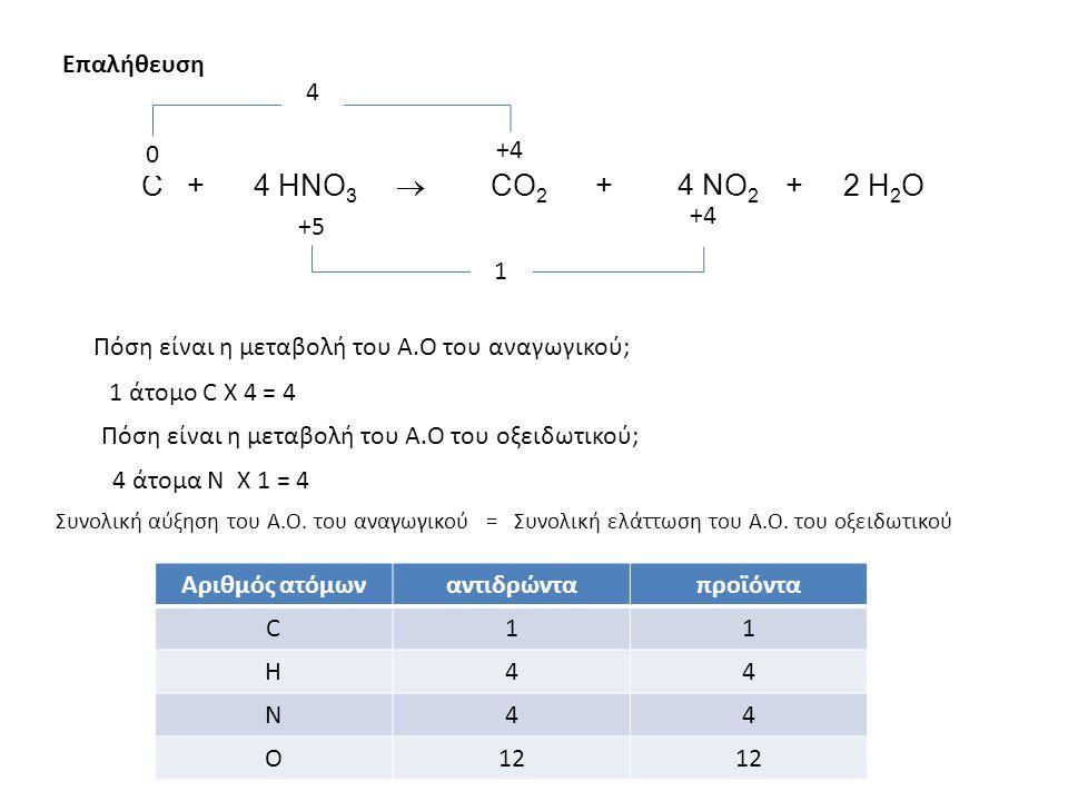 Επαλήθευση Πόση είναι η μεταβολή του Α.Ο του οξειδωτικού; Πόση είναι η μεταβολή του Α.Ο του αναγωγικού; C + 4 HNO 3  CO 2 + 4 NO 2 + 2 H 2 O 1 άτομο C X 4 = 4 4 άτομα N X 1 = 4 Συνολική αύξηση του A.O.