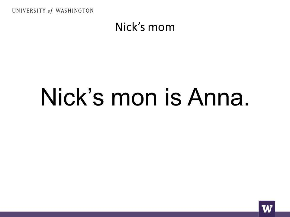 Nick's mom Nick's mon is Anna.