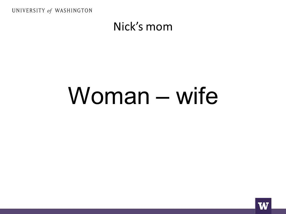 Nick's mom Woman – wife