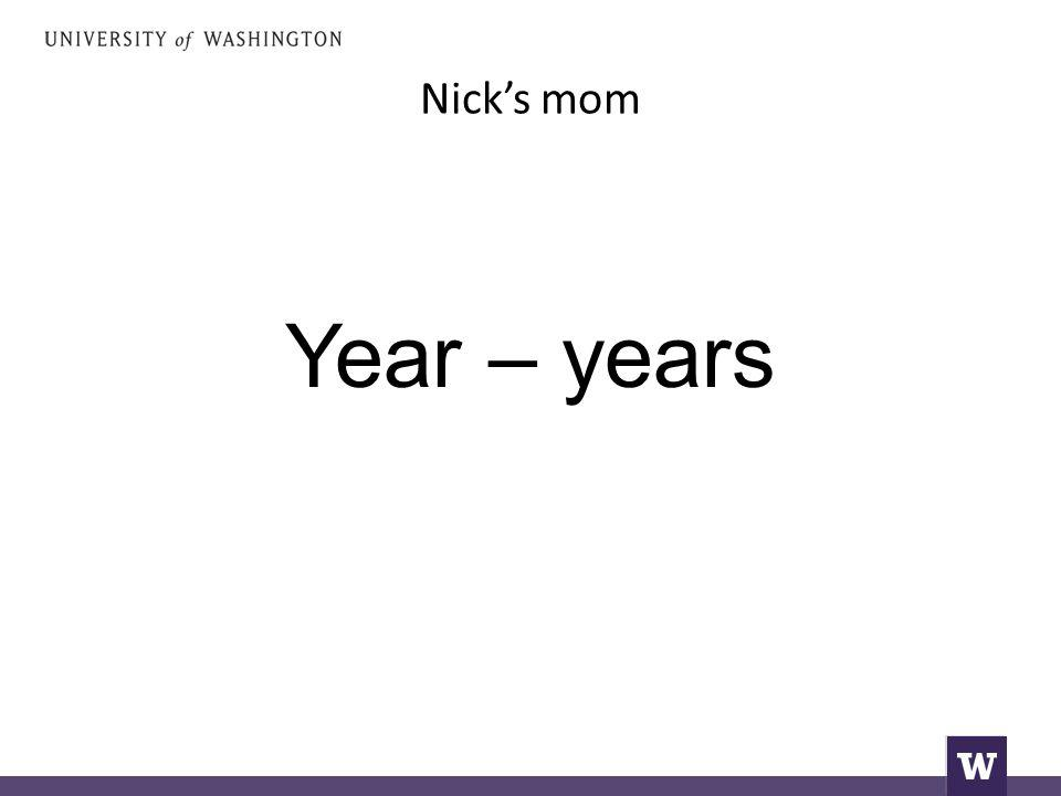 Nick's mom Year – years