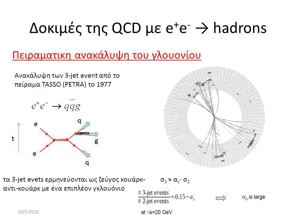 Δοκιμές της QCD με e + e - → hadrons 29/5/201017 Πειραματικη ανακάλυψη του γλουονίου Ανακάλυψη των 3-jet event από το πείραμα TASSO (PETRA) το 1977 τα 3-jet evets ερμηνεύονται ως ζεύγος κουάρκ- αντι-κουάρκ με ένα επιπλέον γκλουόνιο σ 3 ≈ α s ∙ σ 2