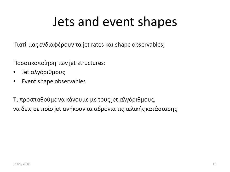 Jets and event shapes Γιατί μας ενδιαφέρουν τα jet rates και shape observables; Ποσοτικοποίηση των jet structures: Jet αλγόριθμους Event shape observables Τι προσπαθούμε να κάνουμε με τους jet αλγόριθμους; να δεις σε ποίο jet ανήκουν τα αδρόνια τις τελικής κατάστασης 29/5/201019