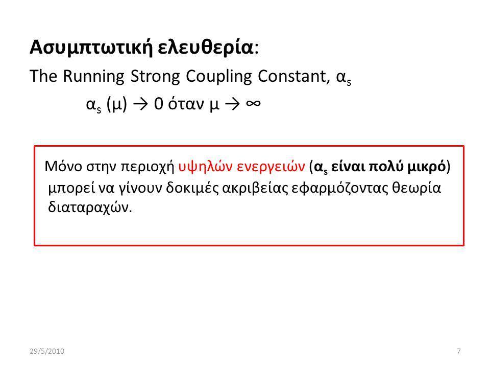 Ασυμπτωτική ελευθερία: The Running Strong Coupling Constant, α s α s (μ) → 0 όταν μ → ∞ Μόνο στην περιοχή υψηλών ενεργειών (α s είναι πολύ μικρό) μπορεί να γίνουν δοκιμές ακριβείας εφαρμόζοντας θεωρία διαταραχών.
