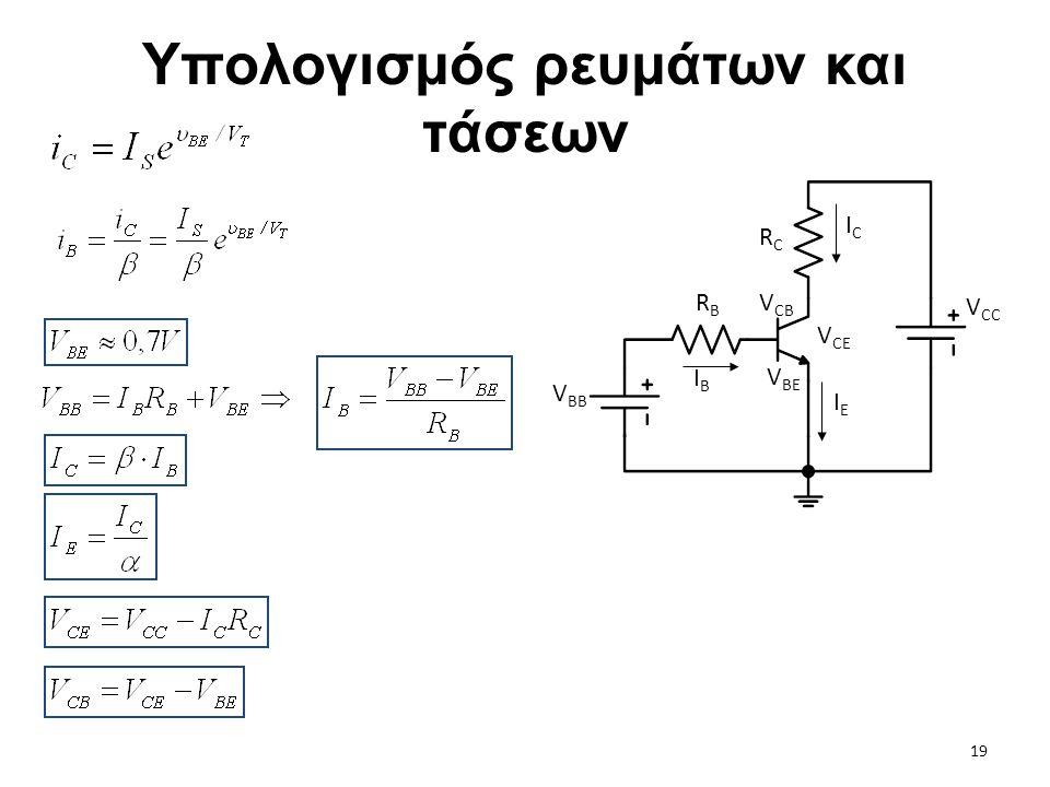 Υπολογισμός ρευμάτων και τάσεων RBRB V CC V BB V CB V BE V CE ICIC IEIE IBIB RCRC 19