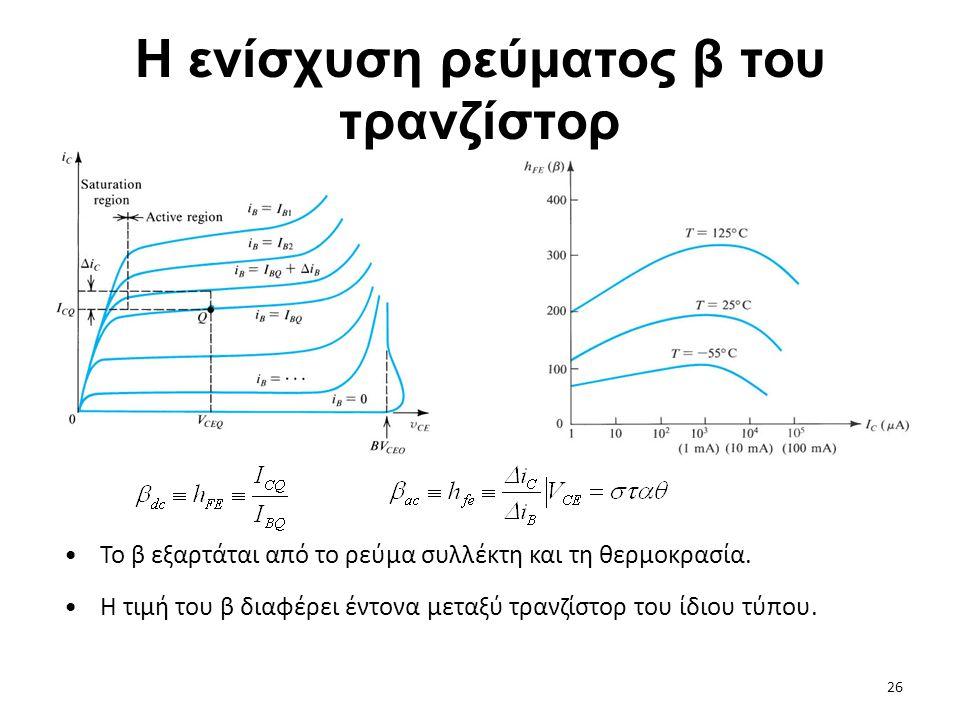 Η ενίσχυση ρεύματος β του τρανζίστορ Το β εξαρτάται από το ρεύμα συλλέκτη και τη θερμοκρασία. Η τιμή του β διαφέρει έντονα μεταξύ τρανζίστορ του ίδιου
