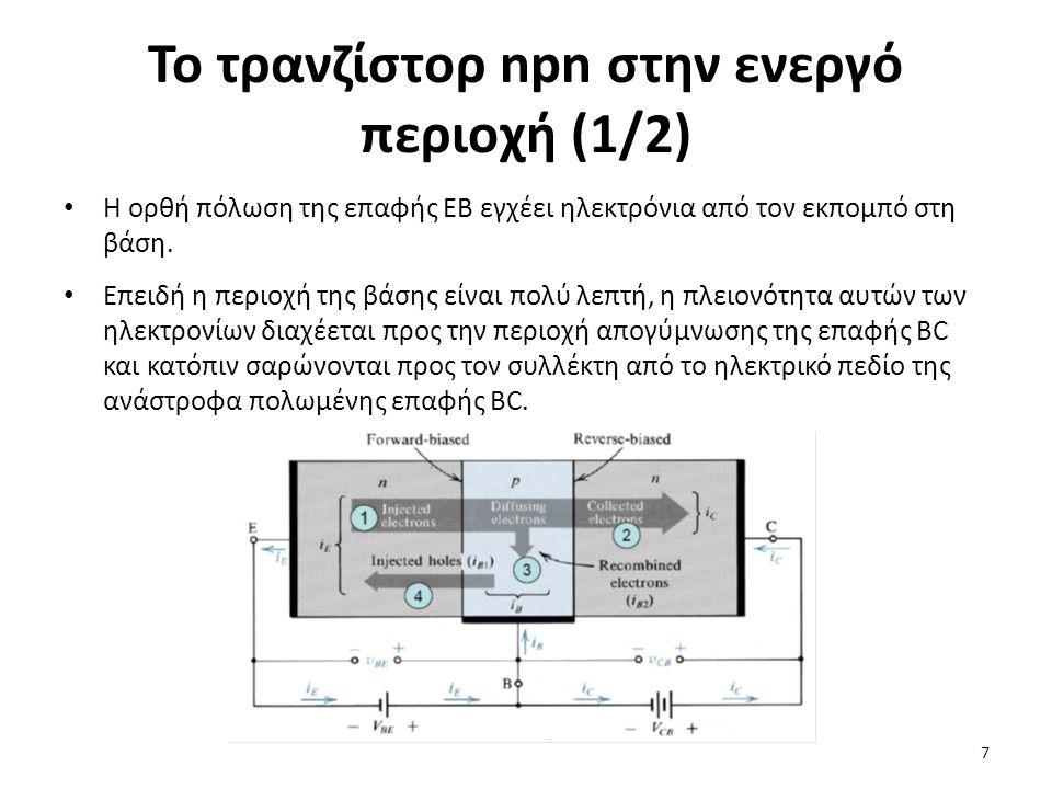 Το τρανζίστορ npn στην ενεργό περιοχή (1/2) Η ορθή πόλωση της επαφής ΕΒ εγχέει ηλεκτρόνια από τον εκπομπό στη βάση. Επειδή η περιοχή της βάσης είναι π