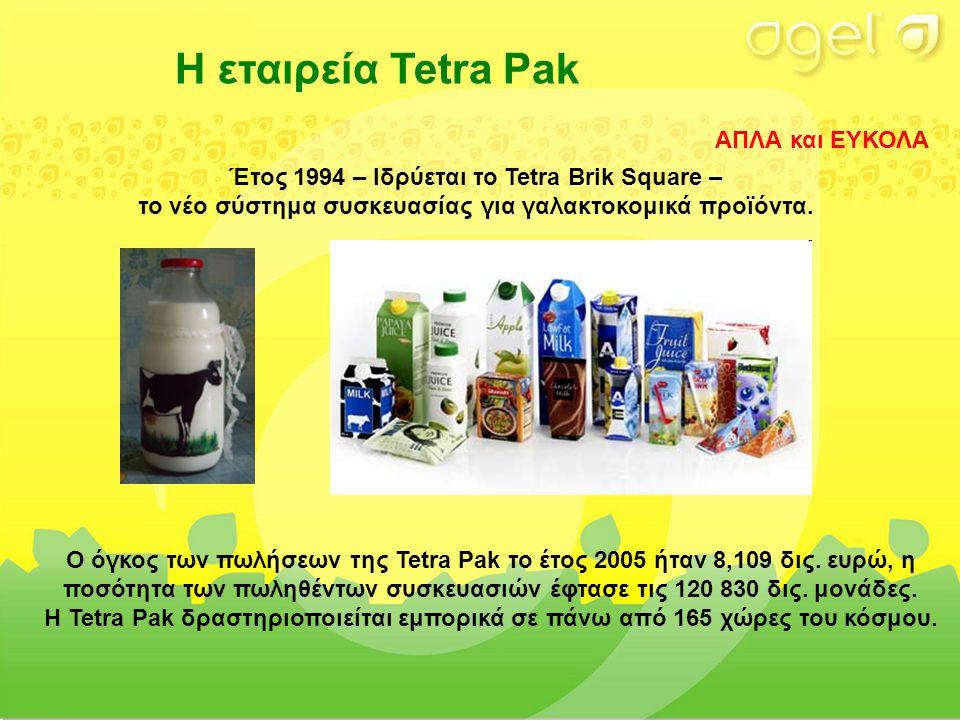 Η εταιρεία Tetra Pak Ο όγκος των πωλήσεων της Tetra Pak το έτος 2005 ήταν 8,109 δις.