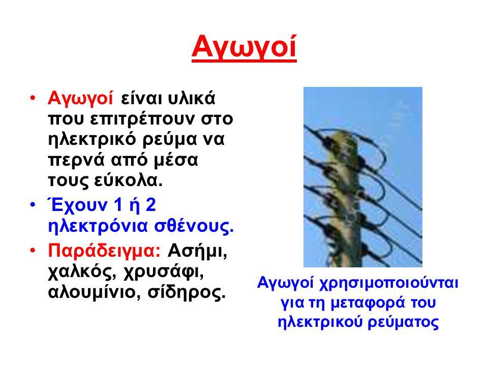 Αγωγοί Αγωγοί είναι υλικά που επιτρέπουν στο ηλεκτρικό ρεύμα να περνά από μέσα τους εύκολα.