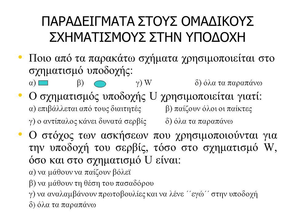 ΠΑΡΑΔΕΙΓΜΑΤΑ ΣΤΟΥΣ ΟΜΑΔΙΚΟΥΣ ΣΧΗΜΑΤΙΣΜΟΥΣ ΣΤΗΝ ΥΠΟΔΟΧΗ Ποιο από τα παρακάτω σχήματα χρησιμοποιείται στο σχηματισμό υποδοχής: α) β) γ) W δ) όλα τα παραπάνω Ο σχηματισμός υποδοχής U χρησιμοποιείται γιατί: α) επιβάλλεται από τους διαιτητές β) παίζουν όλοι οι παίκτες γ) ο αντίπαλος κάνει δυνατά σερβίς δ) όλα τα παραπάνω Ο στόχος των ασκήσεων που χρησιμοποιούνται για την υποδοχή του σερβίς, τόσο στο σχηματισμό W, όσο και στο σχηματισμό U είναι: α) να μάθουν να παίζουν βόλεϊ β) να μάθουν τη θέση του πασαδόρου γ) να αναλαμβάνουν πρωτοβουλίες και να λένε ΄΄εγώ΄΄ στην υποδοχή δ ) όλα τα παραπάνω