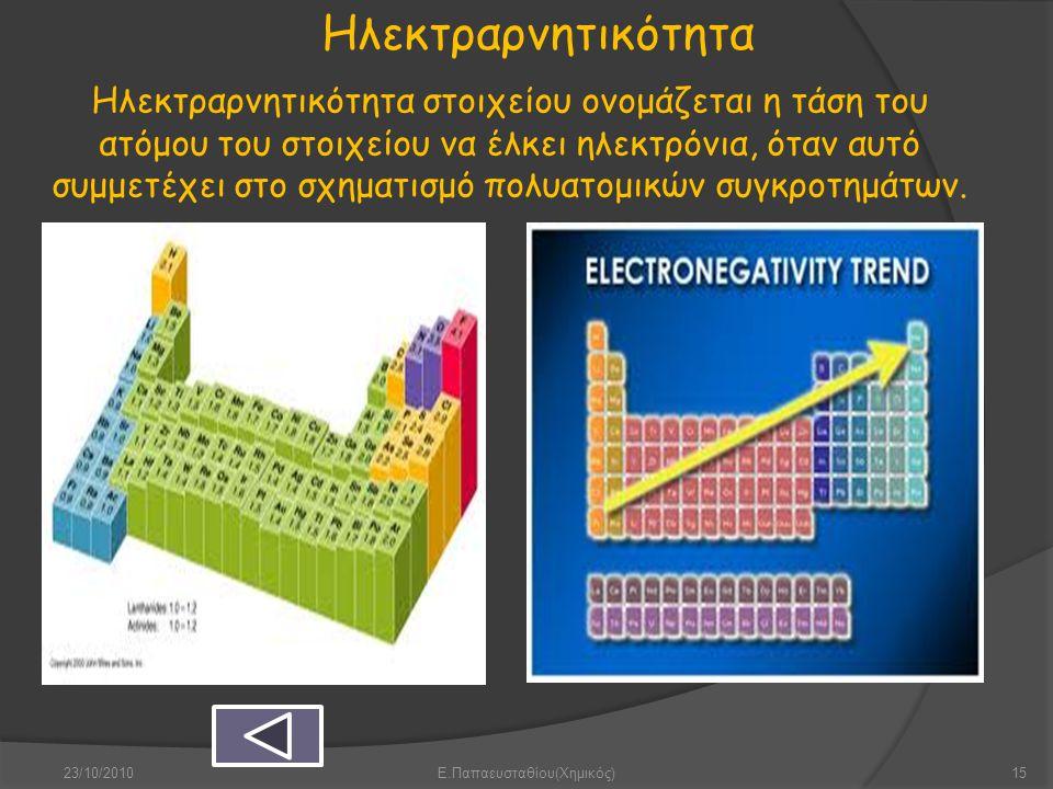 Ηλεκτραρνητικότητα Ηλεκτραρνητικότητα στοιχείου ονομάζεται η τάση του ατόμου του στοιχείου να έλκει ηλεκτρόνια, όταν αυτό συμμετέχει στο σχηματισμό πο
