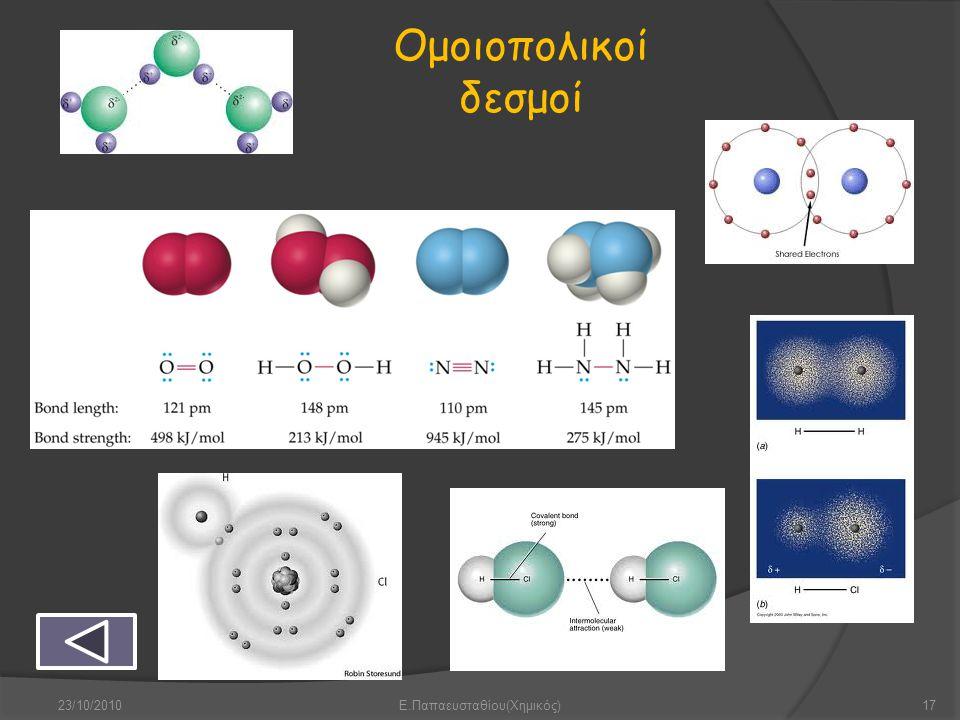 Ομοιοπολικοί δεσμοί 23/10/201017Ε.Παπαευσταθίου(Χημικός)