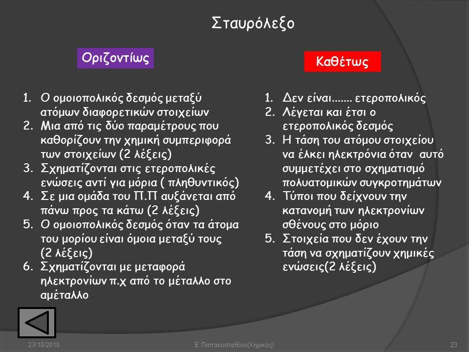 23/10/2010Ε.Παπαευσταθίου(Χημικός)23 Οριζοντίως Καθέτως Σταυρόλεξο 1.Ο ομοιοπολικός δεσμός μεταξύ ατόμων διαφορετικών στοιχείων 2.Μια από τις δύο παρα