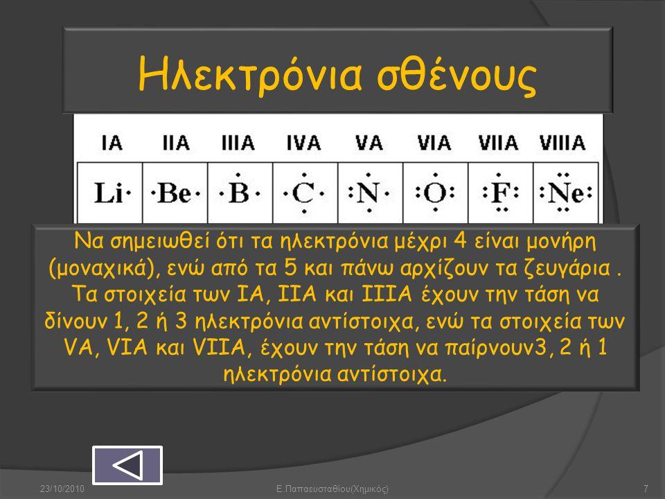 Ηλεκτρόνια σθένους Να σημειωθεί ότι τα ηλεκτρόνια μέχρι 4 είναι μονήρη (μοναχικά), ενώ από τα 5 και πάνω αρχίζουν τα ζευγάρια. Τα στοιχεία των ΙΑ, ΙΙΑ