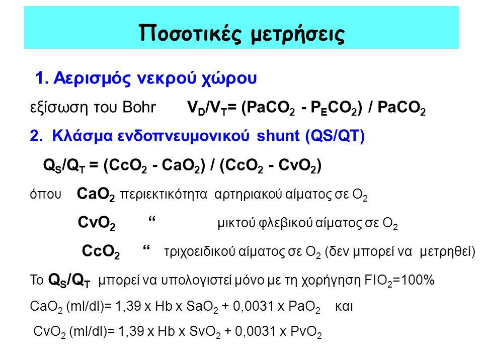 Ποσοτικές μετρήσεις 1. Αερισμός νεκρού χώρου εξίσωση του Bohr V D /V T = (PaCO 2 - P E CO 2 ) / PaCO 2 2. Κλάσμα ενδοπνευμονικού shunt (QS/QT) Q S /Q