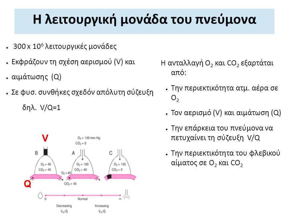 Η λειτουργική μονάδα του πνεύμονα Η ανταλλαγή Ο 2 και CO 2 εξαρτάται από: ● Την περιεκτικότητα ατμ. αέρα σε Ο 2 ● Τον αερισμό (V) και αιμάτωση (Q) ● Τ